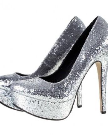 odeon silver glitter high heel platform party prom court
