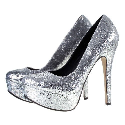 4fe391165cee ODEON Silver Glitter High Heel Platform Party Prom Court Shoes 5 ...