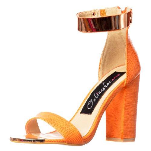 d09ac96ad91 Onlineshoe Women's Ladies Peep Toe Mid Heels High Back Gold Ankle ...
