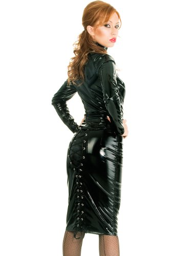 Pvc Fitted Zip High Collar Ladies Long Jacket Coat Black