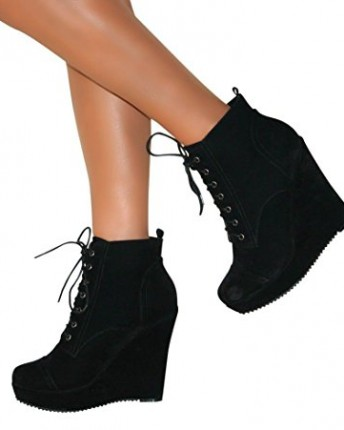 Perfect Me Womens Suede Ankle Boots Wedge High Heel