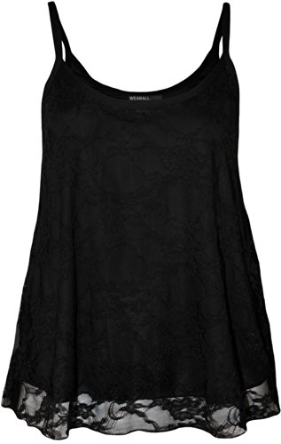 483f11559ae Plus Size Womens Lace Swing Ladies Strappy Sleeveless Camisole Vest ...