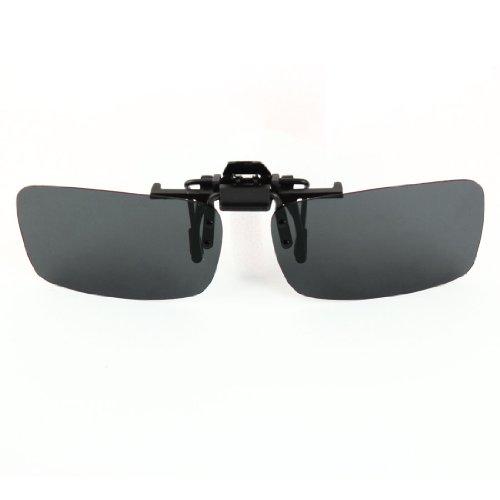 f447cdc6cf18 Polarized Rimless Rectangle Gray Lens Flip Up Clip on Sunglasses ...