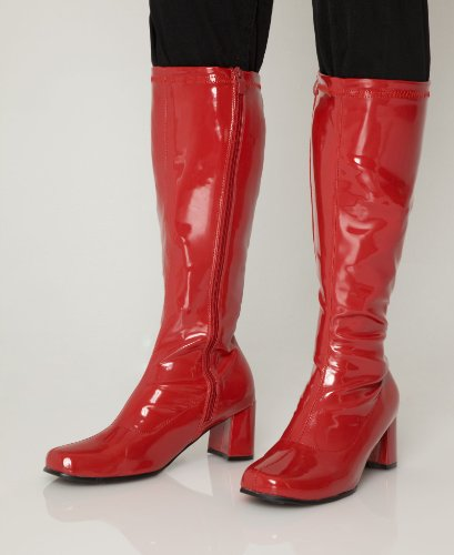 Red Knee High Fancy Dress Party Boots Size 10 Uk Top