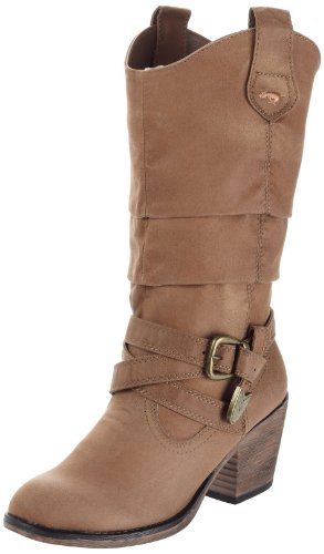 b5aa9eaca40 Rocket Dog Women's Sidestep Tan Rider Fabric Mid-Calf Western Boot 6 ...