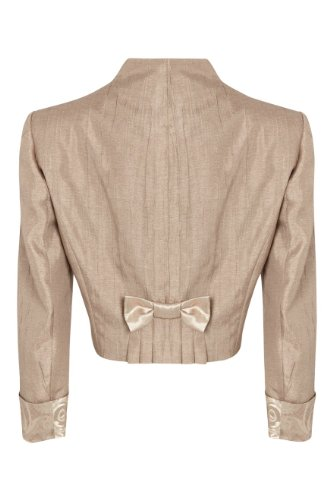 Roman Women S Cropped Jacquard Jacket Mink Size 18 Top