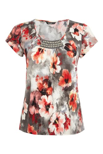 roman women u0026 39 s floral front trim jersey top red size 12