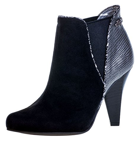 ruby shoo louise black suedette high heel ankle boots uk