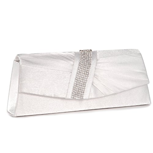 SATIN DIAMANTE PLEATED CLUTCH EVENING BAG WEDDING PROM PARTY BRIDAL PURSE 6 Colours (Ivory White ...