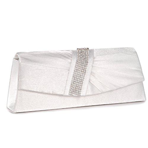 Ivory Satin Clutch Bag Wedding Prom Party Purse Handbag New UK