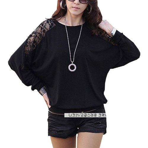 079c743d SAVFY Womens Ladies Stylish Sexy Hot Loose Batwing Dolman Lace Blouses Top  T-shirt Fit UK Size 8-20, Batwing Style, Long Sleeves, Loose Style (L ...