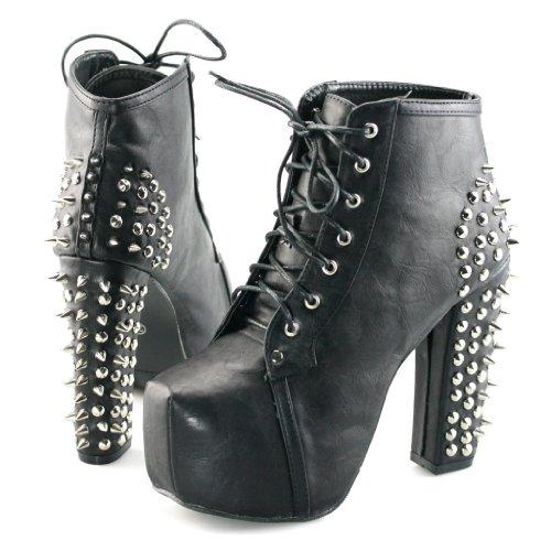 Shoezy Womens Block High Heels Platform Ankle Boots Studs