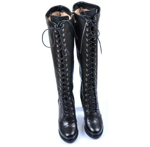 94e7c0194c249d Sheepskin Ladies Retro Real Leather Lace Up Block Heel Knee High ...