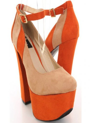 9859849ca12 Shoehorne Anne51 - Womens Orange   Beige Faux Suede Double Platform ...