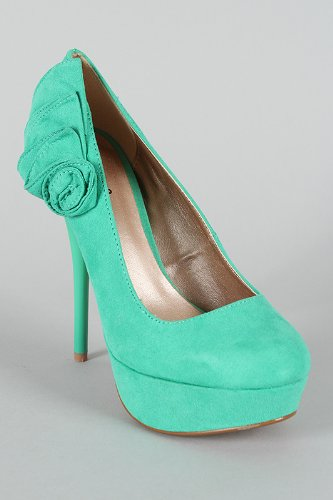 Shoehorne Neutral 388 Womens Sea Green Suede Ruffled Bow