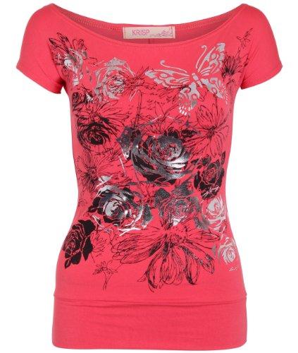 508d85507 Shop Womens Butterfly Floral Foil Print Boat Neck Batwing Top T ...