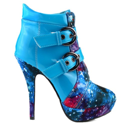 show story blue buckle night sky high heel stiletto. Black Bedroom Furniture Sets. Home Design Ideas