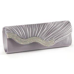 Silver Grey SATIN Wavy CRYSTAL DIAMANTE EVENING CLUTCH BAG PURSE BRIDAL PROM - Top Fashion Shop