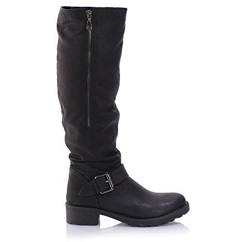 ad0fd9eebbf Sole Affair BACKWOODS Womens Ladies Chunky Low Heel Knee High Fur ...