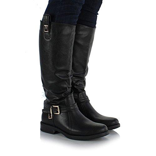 7f0b4dad4f87 Sole Affair BEXLEY Ladies Women Leather Style Knee High Flat Sole ...