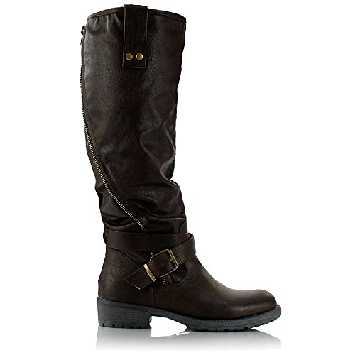555c14423df1 Sole Affair HUSTLE Ladies Womens Leather Style Knee High Flat Low ...