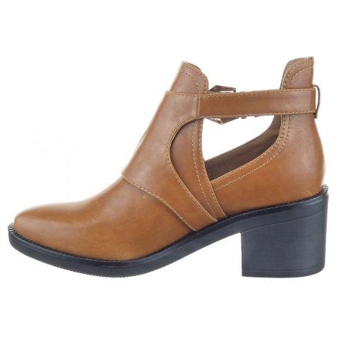 Camel Color Low Heel Buckle Shoes