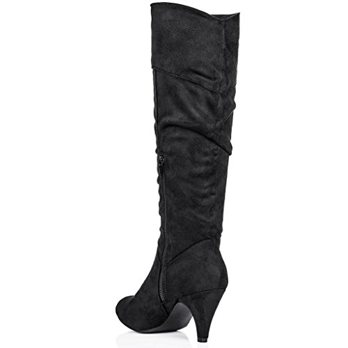 stiletto heel knee high boots black synthetic suede uk 3