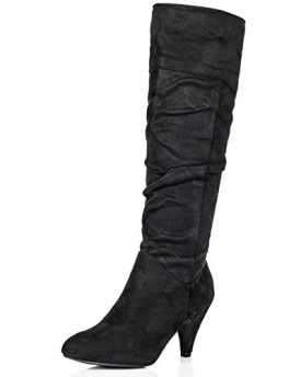 3b7b0a588dd Stiletto-Heel-Knee-High-Boots-Black-Synthetic-Suede-