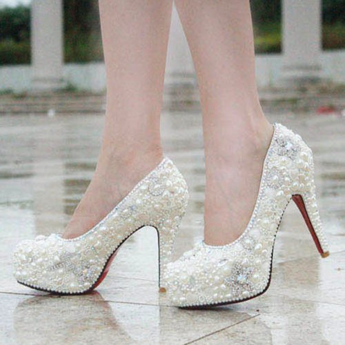 78bcaf2a266a Stunning Pearl Covered Platform 4.5 Inches High Heels Wedding Party ...
