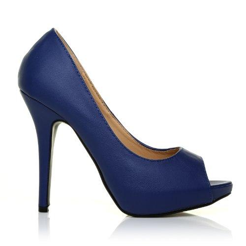 navy pu leather stiletto high heel platform peep toe