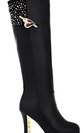 a125437a9f4 Three s Ladies Knee High Boots Zip Up Platform High Heel Diamante ...