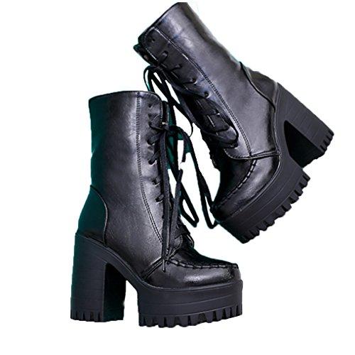 468c5cf68f6 Three s Ladies Platform Heel Ankle Boots Lace Up Chunky Heel Sexy ...
