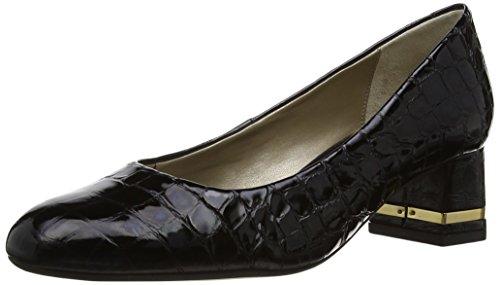 Van Dal Black Croc Patent Leather Wide Fit Shoes