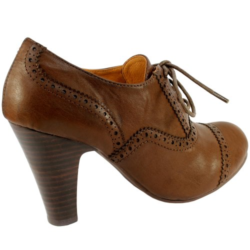 Womens Brogue High Heel Lace Up Ankle Shoe Boots 3 8 Top