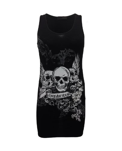 Womens Forever Young Skull Printed Vest Top Tee T Shirt S
