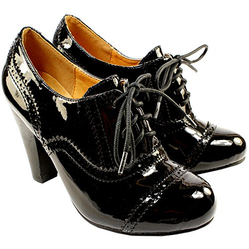 c0a194222 ... ANKLE SHOE BOOTS LADIES NEW 3-8. WOMENS-HIGH-HEEL-PATENT-BLACK-BROGUE- LACE-UP-