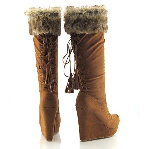Womens Knee High Platform Ladies High Heel Fur Wedge Boots