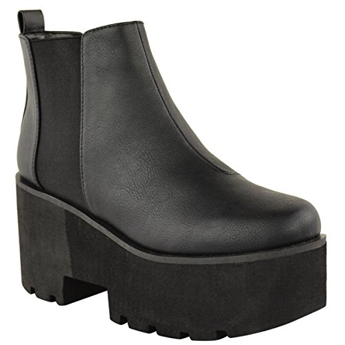 Ladies Womens Chunky Cleated Platform Sole Block Heel Chelsea Ankle Boots Shoes