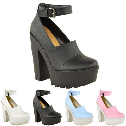 bcec423fd704 WOMENS LADIES CLEATED SOLE CHUNKY PLATFORM GOTH HIGH HEEL ANKLE ...