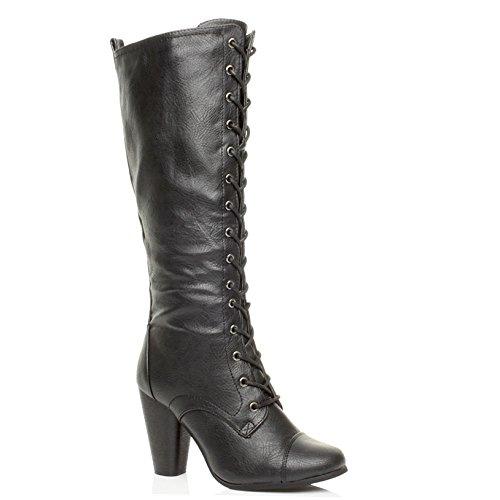 womens high chunky heel lace up calf knee