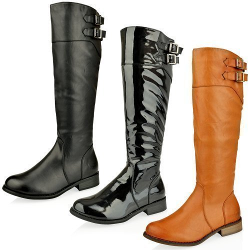 Womens Ladies Knee High Flat Heel Biker Riding Faux