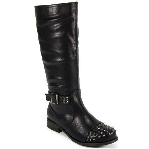 WOMENS LADIES KNEE HIGH FLAT LOW HEEL BIKER STUD STUDDED BUCKLE RIDING BOOTS (UK 5 EU 38, BLACK PU)