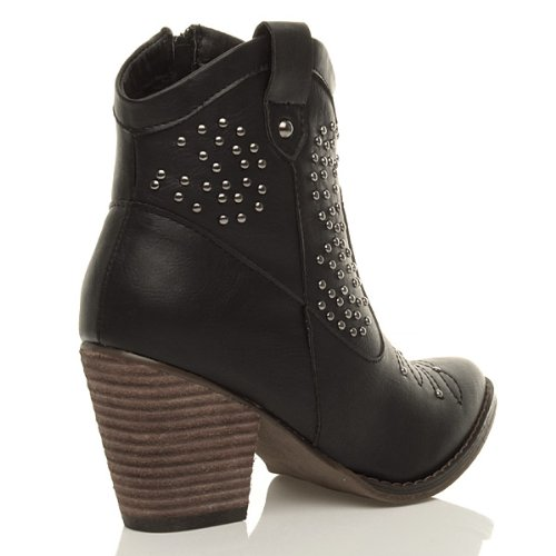 Womens Ladies Studded Embellished Stitched Cowboy Ankle