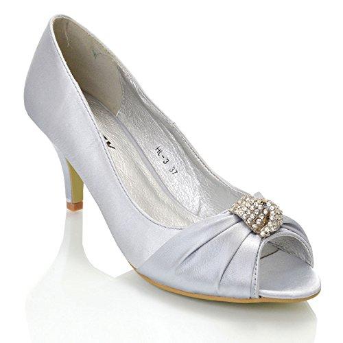 Womens Low Heel Diamante Buckle Ladies Bridal Peep Toe