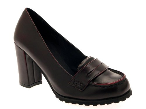 well known ever popular first look WOMENS SMART FORMAL BLOCK HEELS SLIP ON FULL TOE LOAFERS COURT ...