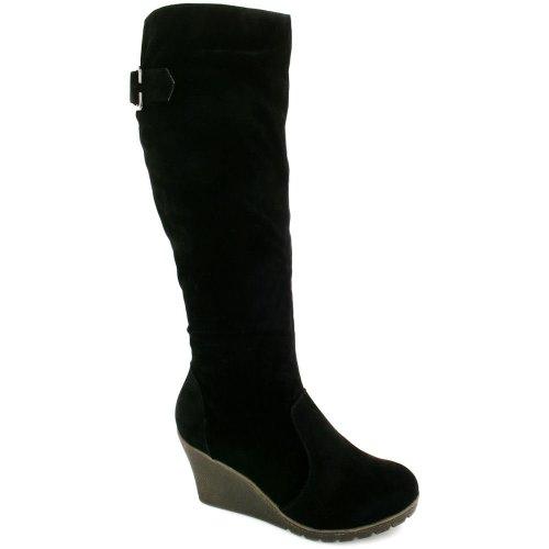 wedge heel knee high boots black sz 5 top fashion shop