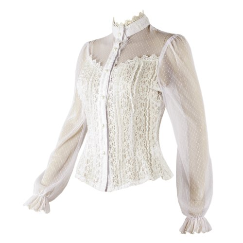 f3b929dcf4f3db White Gothic Frilly Lace Blouse - Top Fashion Shop