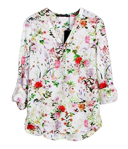 Womdee womens v neck floral print loose chiffon shirt for White floral shirt womens