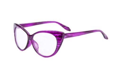 Women Designer Cat Eye Glasses Retro Glasses Clear Lens Vintage Eyewear  (Purple)