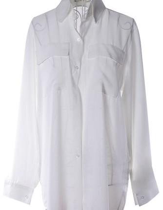 d396178db9a114 ... Chiffon Blouse Tops White UK 10. Women-Girls-Long-Sleeve -Turn-down-Collar-Button-